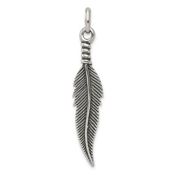 925 Sterling Silver Antiqued Feather Shaped Pendant