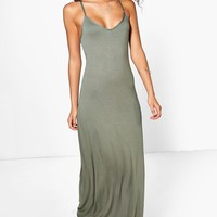Tall Mei Lace Up Back V Neck Maxi Dress | Boohoo