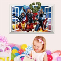 Wall Stickers Window Carton The Avengers 3D View Removable Wall Stickers Art Vinyl Decal Kids Baby Nursery Room Decor Mural