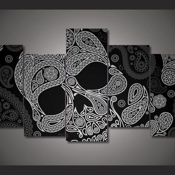 Skull Art Black And White Skull 5-Piece Wall Art Canvas