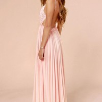 Something Special Crochet Maxi Dress - Blush