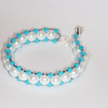 Handmade glass pearl bracelet Handmade beaded bracelet Handmade pearls and Swarovski bracelet Handmade blue and white beaded bracelet