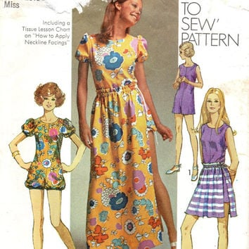 Simplicity 1970s Retro Sewing 9288 Pattern Boho Hippie Maxi Dress Romper Bodysuit Skirt Size 12 Bust 34 Disco Fashion