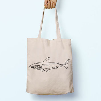 Great White Shark Illustration Drawing Cotton Shopper Model Tote Canvas Bag Shopping Gym Books Tumblr Funny Joke Boy Girl Sack Cotton Gift