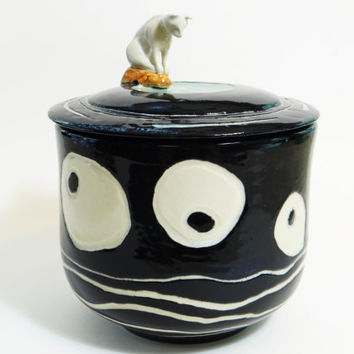 Cat jar, Cat treat jar, Stoneware Kitchen Canister, lidded jar,  keepsake urn, stash jar, ceramic jar with lid, pet urn