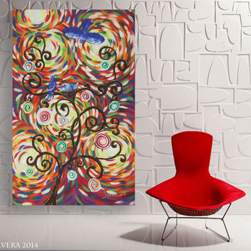 Expressionism large tree of life painting abstract