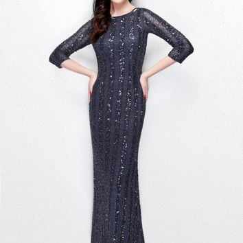 Primavera Couture - Sheer Quarter Sleeve Embellished Evening Gown 1719
