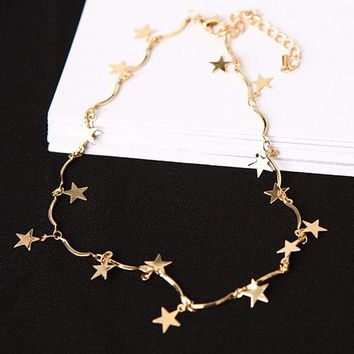 N257 Star Clavicle Necklace Chokers Women Minimalist Choker Collares Fashion Summer Beach Jewelry European & American