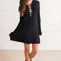 Tara Lace-Up Dress (Black)