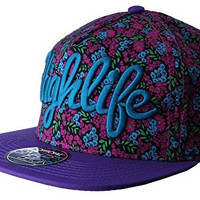 Official Highlife Purple Kush Floral Print Snapback Weed Cap Drug O/S Hat