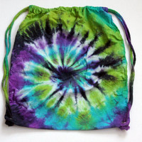 Tie Dyed Lime, Turquoise, Purple, and Black Drawstring Backpack, Made To Order