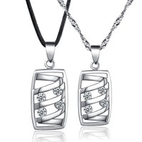 CoolGo Lovers 925 Sterling Silver Couple Pendant Necklaces Jewellery Sets With 2 Hollow Rectangle Paved Cubic Zirconia Gemstone Pendants And 1 Silver Chain Necklace 1 Black Leather Cord 45 CM
