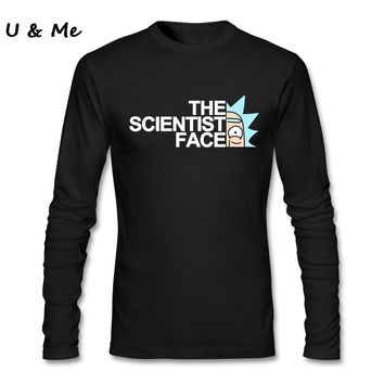 Long Sleeve Loose Streetwear T-Shirts Men Boutique Rick and Morty Shirt Scientist Men Tee Shirts
