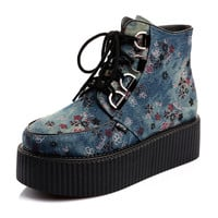 2014 Design Women's Rock Graffiti Hip-Hop Sexy High Top Lace Up Flat PlatForm Women's Goth Creepers Shoes Punk Pumps Warm Ankle Martin Boots