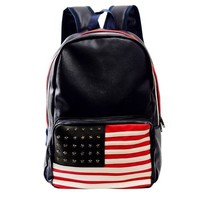 Meilaier Rivet School Student Bag Bookbag PU Leather Backpack for College Teen Girls