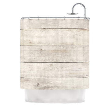"Susan Sanders ""White Wash Wood"" Beige White Shower Curtain"