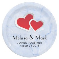 2 Red Paper Hearts on Icy Blue Marble Wedding Paper Plate