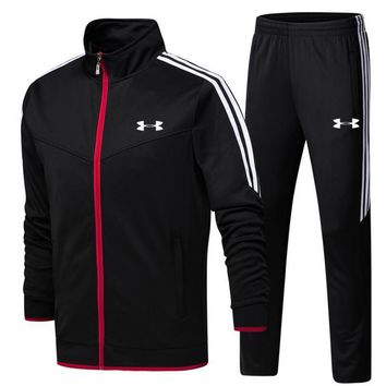 One-nice™ Under Armour pantsuit letter printing fashion suit pullover Black Two piece