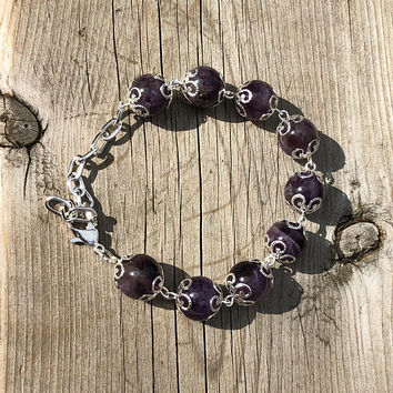 Amethyst Stone Bracelet ~ Ornate Statement Bracelet ~ Purple Passion Jewellery ~ February Birthstone ~ Graduation Gift ~ Mother of the Bride