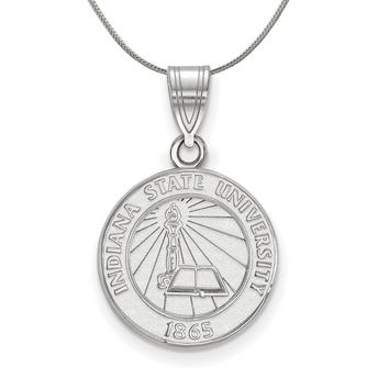 NCAA Sterling Silver Indiana State Medium Crest Pendant Necklace
