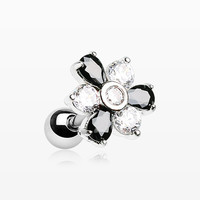 Radiant Sparkle Flower Cartilage Tragus Earring
