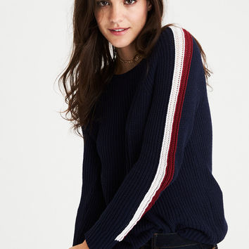 AEO Striped Sleeve Sweater, Navy