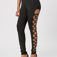 Lace Up Cut Out Skinny Leggings