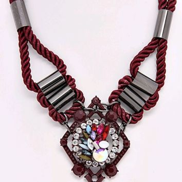 Burgundy Cable and Crystal Necklace