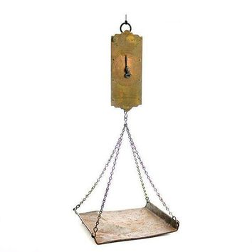 ICIKGQ8 antique hanging scale chatillons improved circular spring balance with weighing pan mid 19th century new york state verification of accuracy