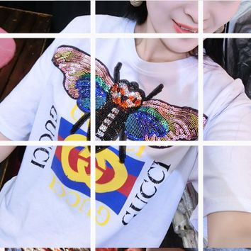 Gucci  The new loose butterfly handmade beaded T-shirt.