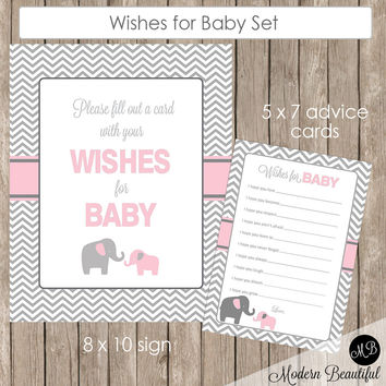 Baby Shower Wishes for Baby Card and Sign in Pink Elephant Theme for a baby girl shower, pe1
