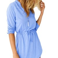 Bluetime Women's Summer Casual High Waist Long Sleeve Short Mini Dress Light Blue