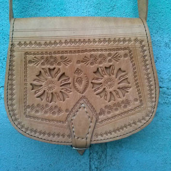 Leather crossbody bag, hand tooled leather bag, vintage mexican leather purse