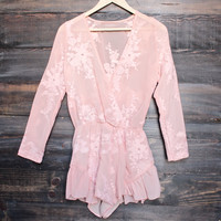 gauze embroidered surplice romper with ruffle hem - blush