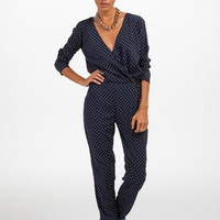 Stardust Jumpsuit in Navy Polka Dot by Dancing Leopard