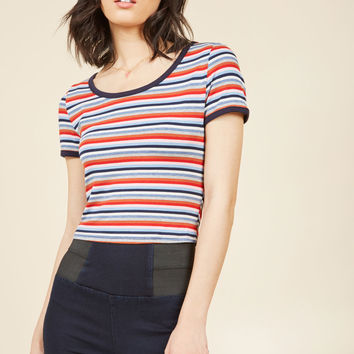 Super-Stripes Crop Top in Navy