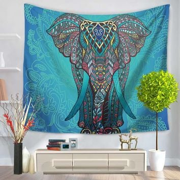 India Elephant Tapestry Printed 150x130cm Beach Towels Tablecloth Wall Carpet Blankets Bohemian Decor Tenture Mural Tapiz Pared