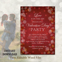 Valentines Day Party Invitation - Printable Valentines Invitation Valentines Day Card - Bokeh Invitation Editable Template Download DIY Red