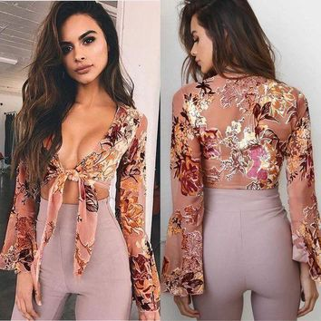 Tiffany Floral Bell Sleeve Top   Fashion Women Ladies Summer Long Sleeve Shirt Loose Casual Blouse Tops T Shirt