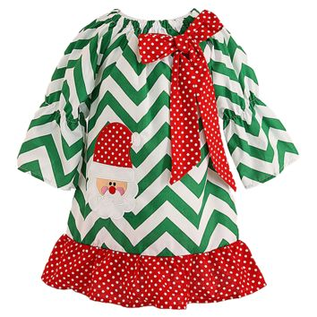 Green Santa Christmas Chevron Shift Dress