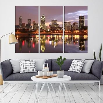63081 - Montreal Wall Art Canvas Print - Canada Montreal City Skyline Large Canvas Print