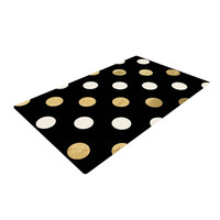 "KESS Original ""Golden Dots"" Black Gold Woven Area Rug"