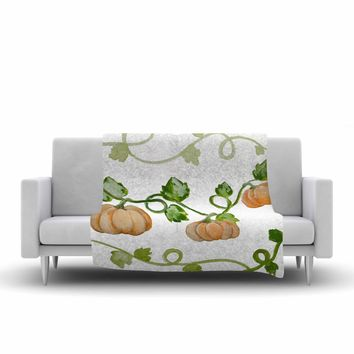 "Jennifer Rizzo ""Trio Of Fall Pumpkins"" Green Orange Painting Fleece Throw Blanket"