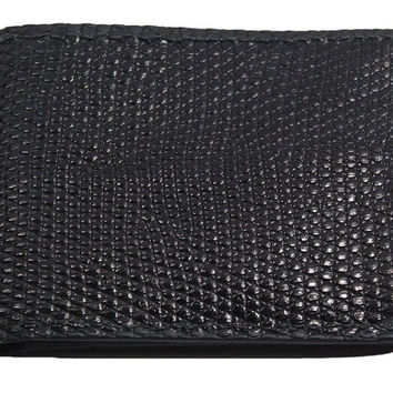 Genuine Black Lizard Skin Bifold Wallet - Real Tegu Lizard Leather - Free Shipping to USA