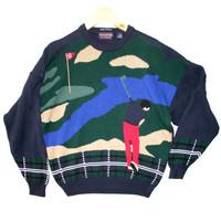 """In The Rough"" Mens Tacky Ugly Golf Sweater - The Ugly Sweater Shop"