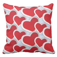 2 Red Hearts Repeating Pattern Cute Throw Pillow