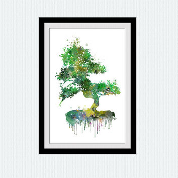 Tree Wall Art, Modern Home Decor, Bonsai Tree Print, Green Modern Art Print, Nature Art Print, Tree Artwork, Watercolor tree poster  W280