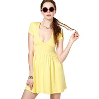 Yellow Deep V-Neck Short Sleeve Skater Dress