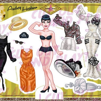Printable Paper Dolls - Audrey Hepburn, paper doll with 8 dresses, printable toys, dress up doll, cutout, kids gift, A4 JPEG