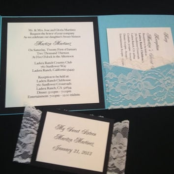 50 Blue Linen with white Lace Wedding by PaperDivaInvitations